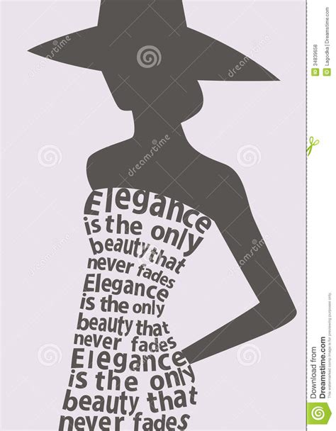 silhouette  woman  dress  words stock vector