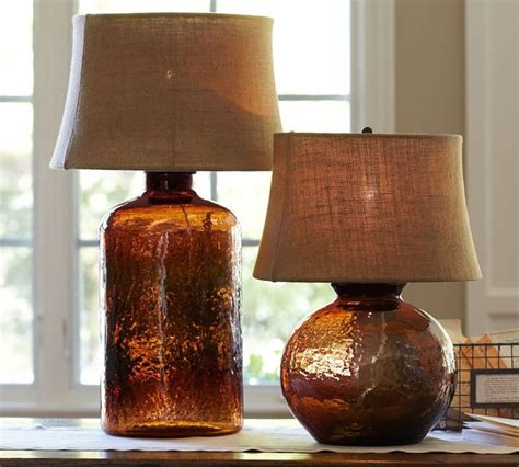 colored glass table lamps  pottery barn clift collection