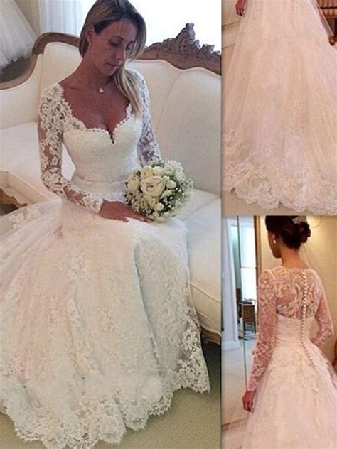 ball gown  neck long sleeves lace court train tulle