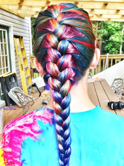 Rainbow Hair French Braided My Best Friend And I Dyed