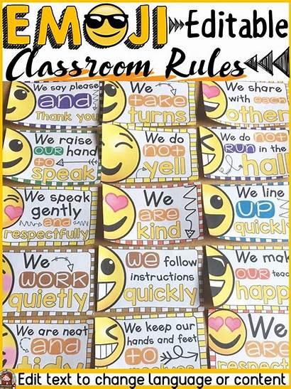 Rules Classroom Emoji Decor Class Editable Behavior