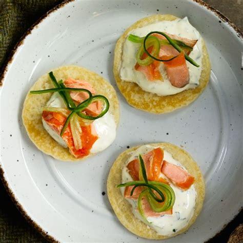 easy canape recipes uk smoked salmon blinis with tzatziki housekeeping