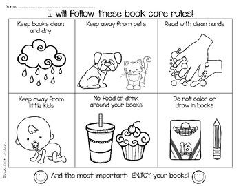 book care rules coloring page  bookmarks  tpt