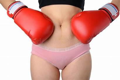 Boxing Belly Gloves Fight Woman Diet Concept