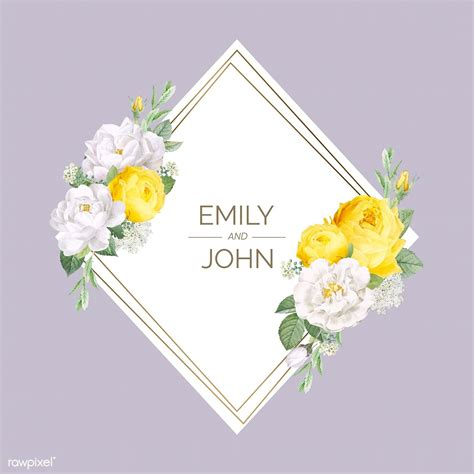 floral wedding invitation mockup vector  image