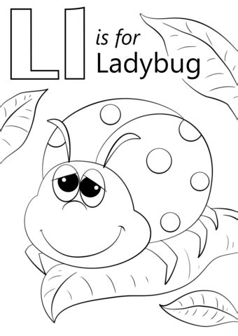 Letter L is for Ladybug coloring page from Letter L