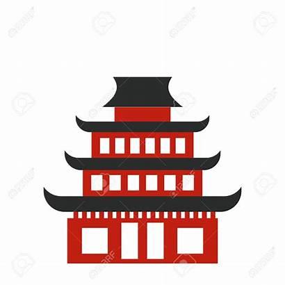 Temple Buddhist Clipart Pagoda Vector Icon Flat