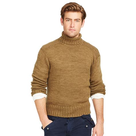 mens wool turtleneck sweater polo ralph merino wool turtleneck sweater in brown