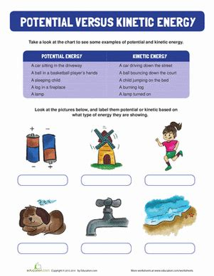 potential and kinetic energy worksheet education