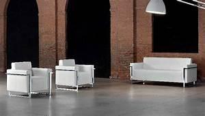 Canapé Cuir Blanc 2 Places : memoria canape 2 places en cuir blanc ~ Teatrodelosmanantiales.com Idées de Décoration