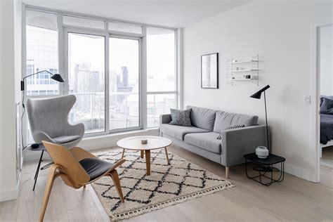 condo living room   bright minimalist space happy