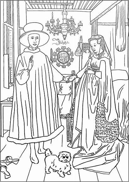 Coloring Arnolfini Eyck Colorear Portrait Arte Jan