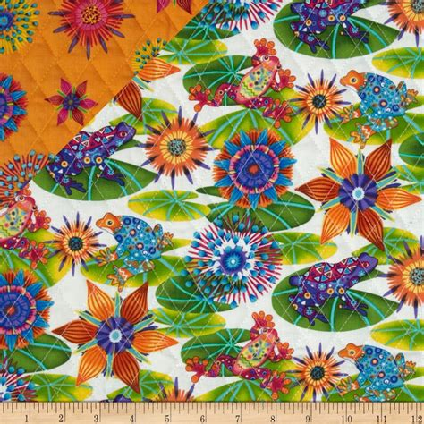 sided quilted fabric calypso sided quilted frogs designer