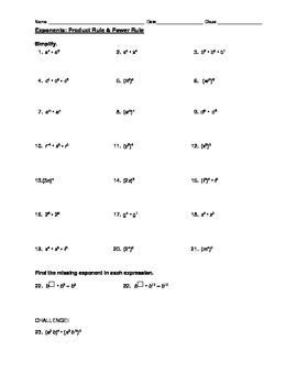 Exponent Rules Worksheet 8th Grade Worksheets For All  Download And Share Worksheets  Free On