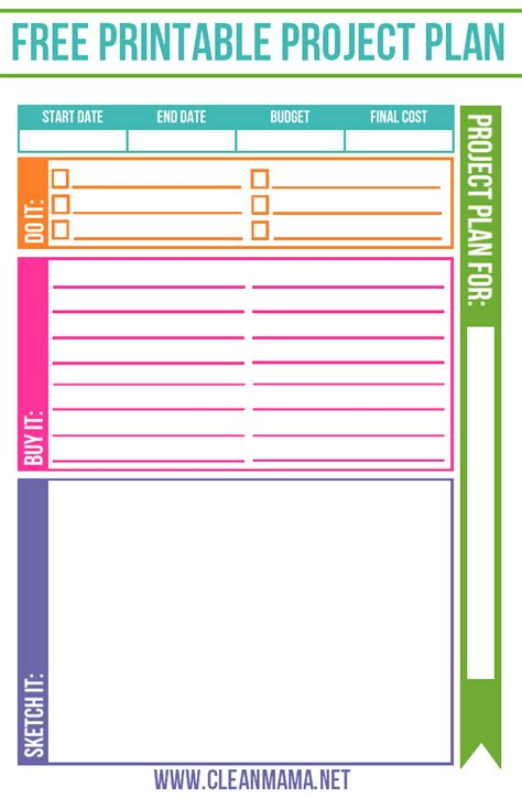 FREE Project Planner Clean Mama