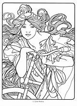 Coloring Nouveau Deco Mucha Alphonse Colouring Adult Adults Drawing Flickr Line Drawings Sheets Abstract Colorir Printable Suellen Getcolorings Face Pro sketch template