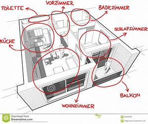 Apartment Diagram With Hand Drawn Notes  In German