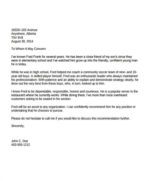 letter of recommendation for immigration 10 immigration reference letter templates pdf doc