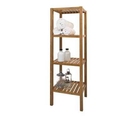 store walnut bathroom shelf unit  tier