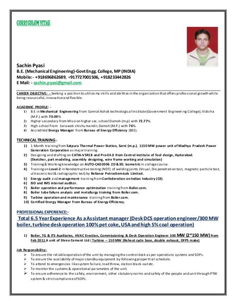 Power Resume Format by Power Plant Desk Operation Engineer Boiler Turbine Hvac