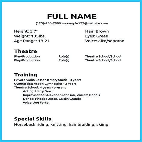 Create A Resume With No Experience by Impressive Actor Resume Sle To Make