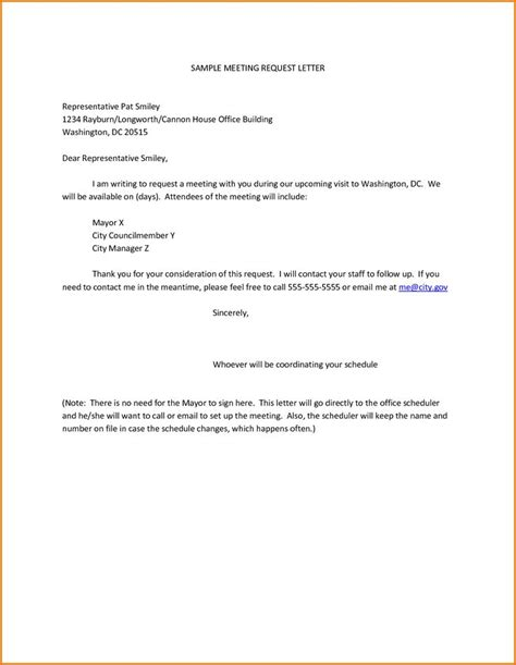 sample meeting request letter representative pat smiley