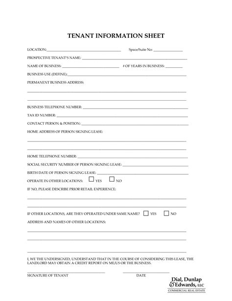 update contact information form template tenant information