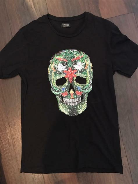 mens zara sequin skull tshirt size m in south shields tyne and wear gumtree