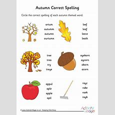 Autumn Spelling Corrections Worksheet