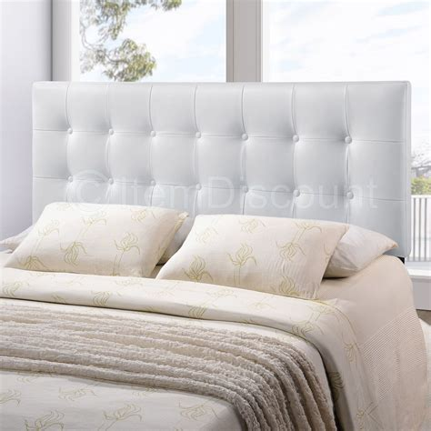 Queen White Button Tufted Leatherette Vinyl Upholstered