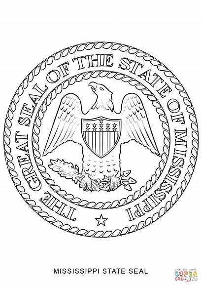 Mississippi Seal Coloring State Pages Printable Drawing