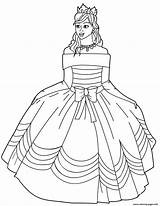 Coloring Princess Gown Ball Printable Drawing Shoulder Gowns Dresses Sketch Template sketch template