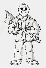 Coloring Jason Voorhees Pages Cartoon Adult Drawings Sheets Scary Halloween Deviantart sketch template