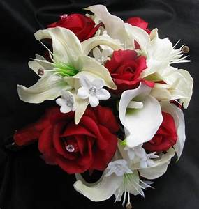 Natural Touch Bouquet Red & White Rose Lily ...