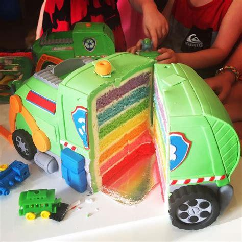 rockys recycling truck rainbow cake layers paw patrol