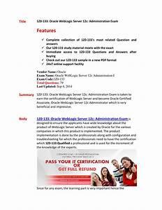 Oracle 1z0 133 Exam Oracle Weblogic Server 12c Administration I