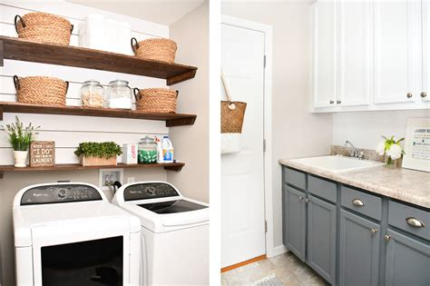 cabinets for laundry room budget laundry room makeover with diy shiplap and stained