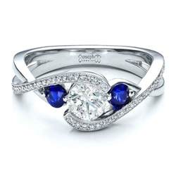 blue sapphire halo engagement rings custom blue sapphire and engagement ring 100056
