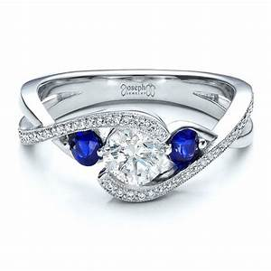 custom blue sapphire and diamond engagement ring 100056 With diamond and sapphire wedding rings