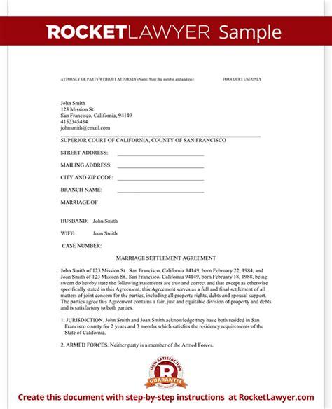divorce settlement agreement template  sample diy