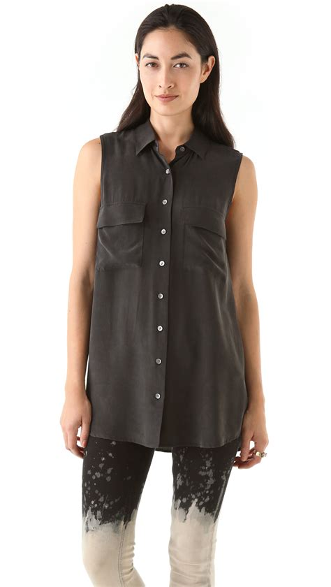 black sleeveless blouse equipment signature sleeveless blouse in black lyst