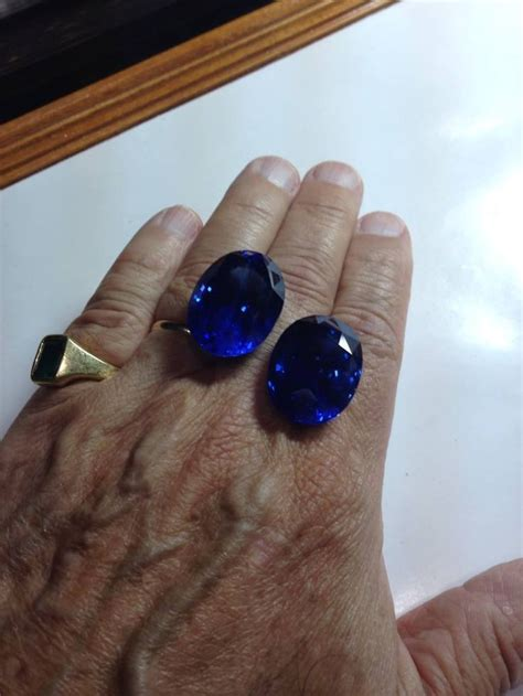 matched pair of unheated ceylon sapphires approximately 70 carats each gemstones to