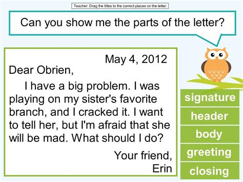 grade friendly letter lesson owl classroom writing