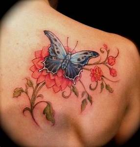 Right Back Shoulder Nice Butterfly Tattoo | Tattooshunt.com