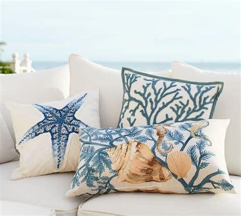 pottery barn outdoor pillows painted blue coastal indoor outdoor lumbar pillow