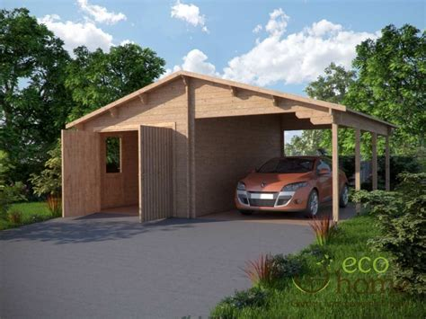 Log Garage Plus Carport 68m X 56m  Log Cabins Ireland