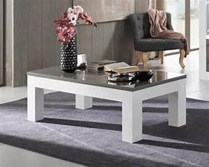 Table Basse Blanc Gris : table basse neos blanc gris blanc blanc gris l 127 x h 43 x p 66 ~ Nature-et-papiers.com Idées de Décoration