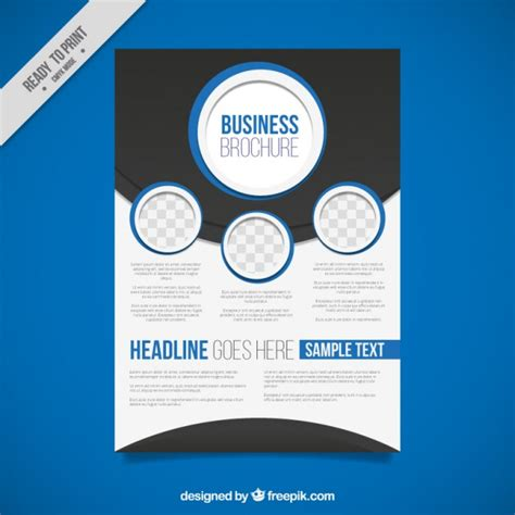 Abstract Business Brochure With Blue Circles Vector