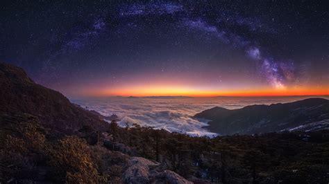 Cloud Landscape Milky Way Nature Night Panorama