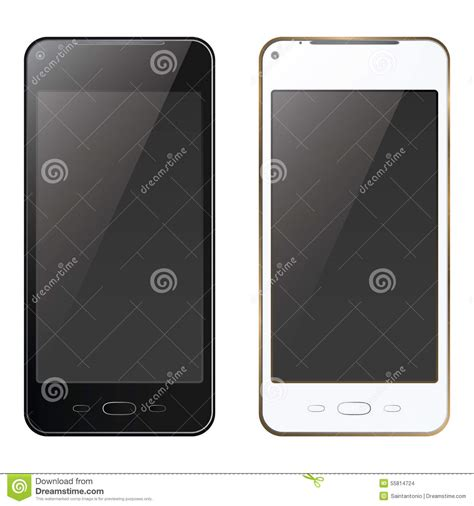 smartphone black and white new realistic mobile phone smartphone black and white mock